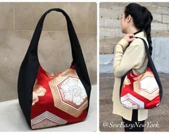 Handmade Japanese obi Silk Bag with Denim Hobo Bag, Upcycled Vintage Japanese Obi,Shoulder bag, gift for her, Gift for Mom, Mothers day gift