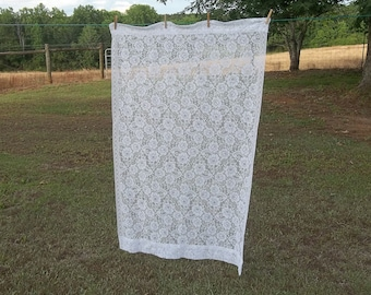Vintage White Lace Curtains 30x60 Lace Drape Window Treatment French Country Cottage Chic