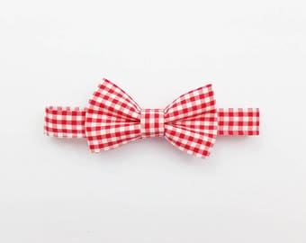 Red gingham hair bow,  baby hair bow, checkered bow clip, bow headband, checkered bow tie, hair bow, gingham headband, red check bow