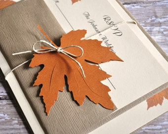 Fall Wedding Invitations, Autumn Wedding Invitations, leaf invitations, Fall Wedding Invites