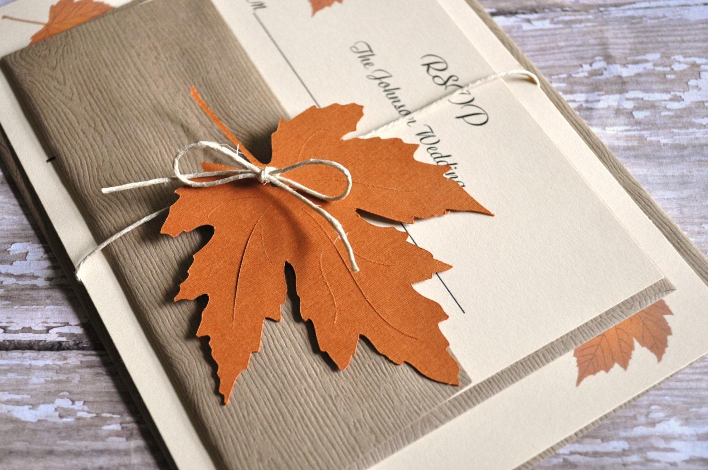 Fall Wedding Invitations Autumn Wedding Invitations leaf