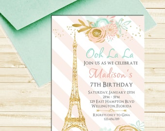 Paris Eiffel Tower Birthday Invitation Mint Pink and Gold Glitter Printable Invite