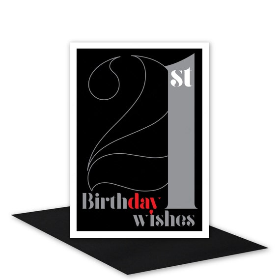 21st birthday wishes card for boy or girl 21 happy birthday 21st birthday wishes card for boy or girl 21 happy birthday card for man or woman black silver typography design inside message options bookmarktalkfo Images