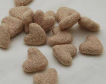 3cm 100% Wool Felt Hearts - 10 Count - Light Latte Brown