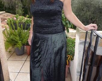 Black bustier long evening or cocktail dress