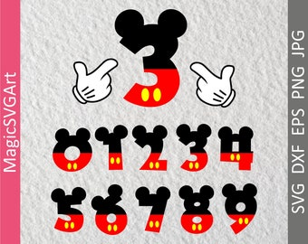 Mickey Mouse Numbers with Ears and Mickey Hand, Birthday Disney Numbers, Baby, Kids, Toddler Birthday
