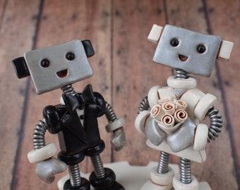 Robot Wedding Cake Topper READY TO SHIP Robot Bride Groom Big Smiles Light (4 inches)