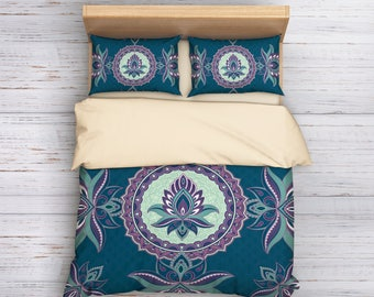 Lotus Bedding, Boho Queen Bedding, Bohemian Bedding, Mandala Bedding, Lotus Duvet Cover, Hippie Bedding Set, King Bedding, Queen Bedding