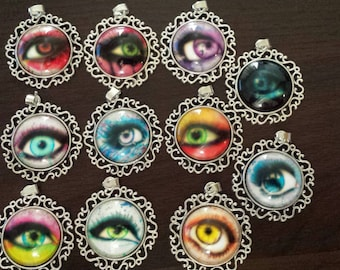 11 eye ball eyes glass cabochon pendants  destash  clearance #p17