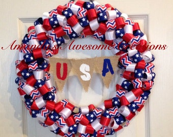 Patriotic U.S.A Ribbon Wreath; Spring Sale; Patriotic Decor; Memorial Day; Labor Day; 4th of July, Veterans Day