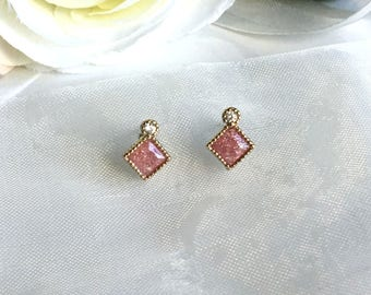 pave diamond shaped square earrings cut princess