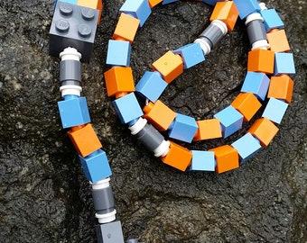 The Original MementoMoose Rosary Made with Lego Bricks - Blue, Orange and Gray Catholic Rosary