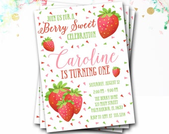 Strawberry Birthday Invitation, Strawberry Invitation, Strawberry Invite, Girl Birthday, Summer Birthday, Berry Invitation, DIY Printable