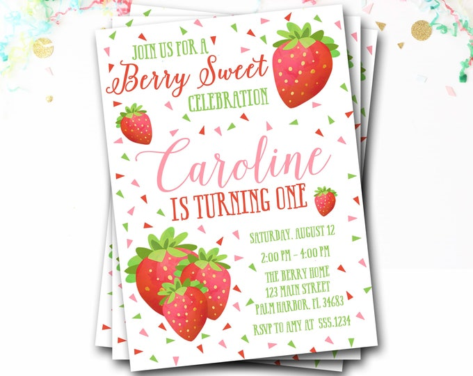 Strawberry Birthday Invitation, Strawberry Invitation, Strawberry Invite, Girl Birthday, Summer Birthday, Berry Invitation, DIY Printable