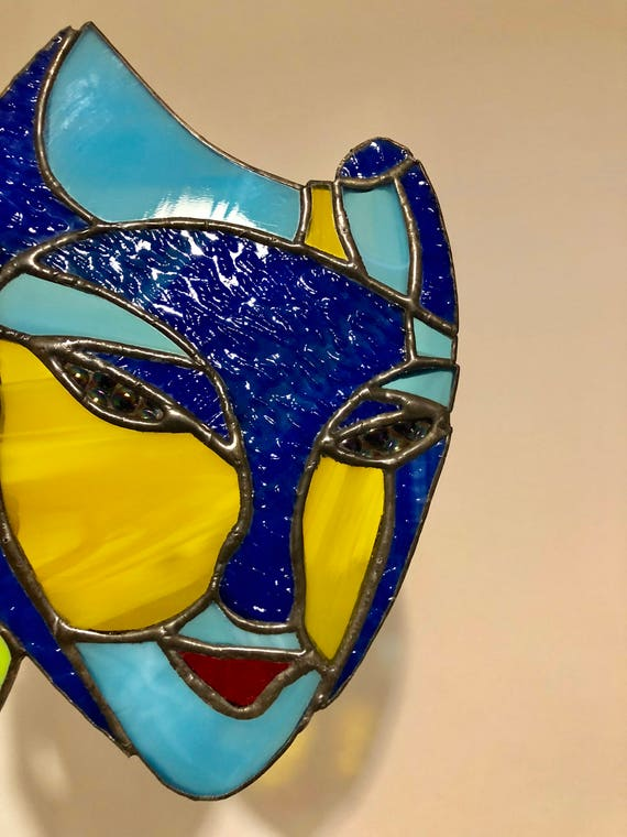 Stained glass Carnival or theater masks sun catcher /Stained
