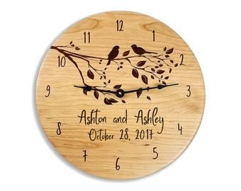 Wedding gift, gift for couples, anniversary gift, wedding clock, anniversary clock, personalized clock, custom clock, cherry clock, engraved