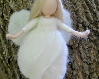 Star fairy Ornament  Waldorf inspired needle felted /soft sculpture: Wool white fairy