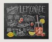 Recipe Print - Summer Kitchen Print - Strawberry Lemonade Recipe - Chalkboard Art - Hand Drawn Chalk Art - Recipe Illustration