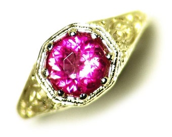 Rubellite Ring, Size 5 Gold Engagement Ring (1.28 ct) 10kt Gold Ring, Pink Tourmaline Ring, Round Cut Filigree 30s Style Recast Ruby Red Gem