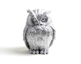 Owl Home Decor - The Chubby Little Silver Owl - Silver Barn Owl Bust - Faux Owl head Animal Statue -Tabletop Accent by White Faux Taxidermy