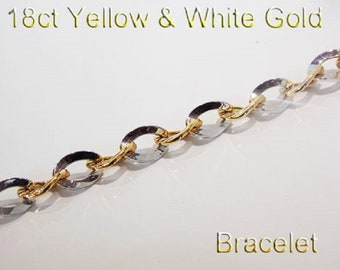 18ct 750 Yellow and White Gold Link Bracelet Jewellery Genuine NEW