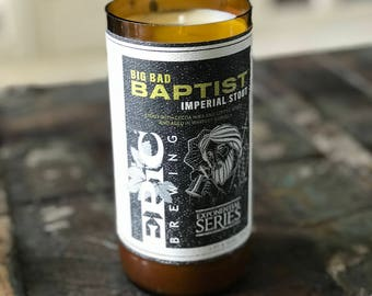 Sage & Citrus Scented Soy Candle, Upcycled 22 oz Bomber Bottle, Recycled Craft Beer Bottle, Epic Brewing