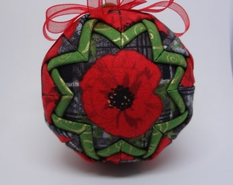 Quilted Fabric Ornament Poppy Flower