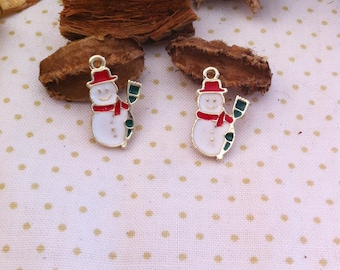 2 small pendants snowman snow in metal and enamel charms