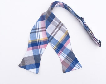 Men and Teen's Pink, Blue and Grey Bow Tie