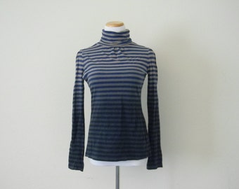 FREE usa SHIPPING Vintage women's striped blue ombre hipster long sleeves turtle neck Route 66 cotton spandex size S