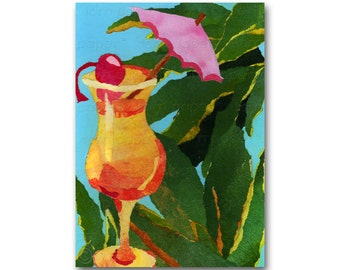 TROPICAL SUNRISE - Retro Art Card or Print - Summer Party Invitation Tiki Bar - Honeymoon - Island Dreams - 1950's Retro Art (CMEM2013085)
