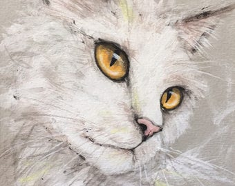 WHITE CAT with golden eyes - ART Original Painting Acrylics Illustration Cats Kitty Pet Small Portrait