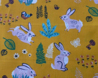 1/2 Yard Organic Cotton Fabric - Birch Fabrics, the Hidden Garden, Bunny Hop Marigold