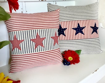 July 4th Pillow Cover, Patriotic Pillow Cover, Americana Pillow, Red White Blue, Stars Pillow, Farmhouse Pillow, Ticking Stripe Pillow Cover
