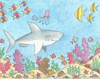 Smiling Shark and coral reef.