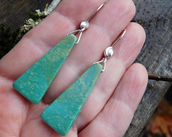 Green Campo Frio Turquoise and Sterling Silver Dangle Earrings