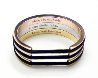Hair Tie Bracelet, Hair Tie Bracelet Holder - Engraved Message Classic Design Steel Silver, Gold, Rose Gold