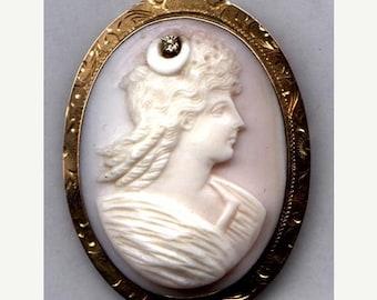 Hand Carved Shell CAMEO  Brooch Goddess Diana 10K with Diamond   Item No: 10212