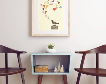 Geometric Bird Print, Whimsical Wall Art, Gift for Man - Pigeon Radio
