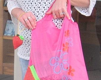Strawberry bag, Nylon foldable reusable strawberry bag, craft bag, tool bag, shopping tote