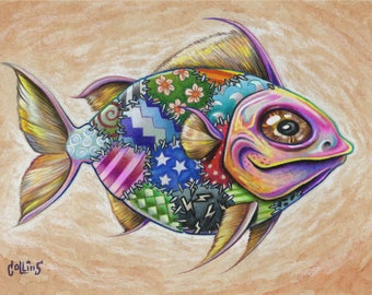 Funky Fish 7 ORIGINAL colored pencil drawing by Bryan Collins