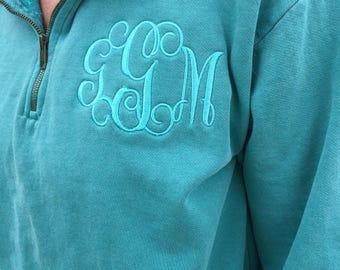 Embroidered Monogram Quarter Zip Sweatshirt by Comfort Colors