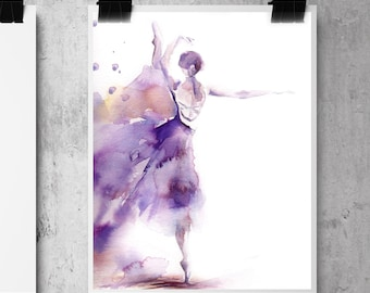 Ballerina Fine Art Print, Watercolor Painting Print, Ballet Art, Ballerina in Purple Modern Wall Art Print, Dance Art Print