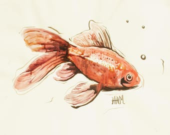 Unique fish China-work red inks