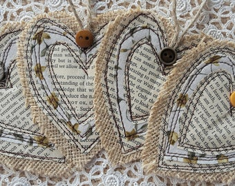 Four Handmade Burlap Stacked Heart Layer Tags Gift Labels Bookmark Embellishment Primitive Christmas