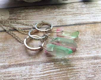 Best Friends Forever Aura Quartz Necklaces