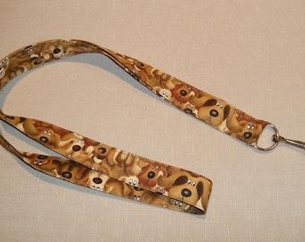 Brown Dogs - handmade fabric lanyard