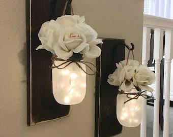 Lighted Mason Jar Sconce, Set of 2, Bedroom Wall Decor, Sconces, Sconce with Fairy Lights, Mason Jar Decor, Mason Jar Wall Decor, Home Decor