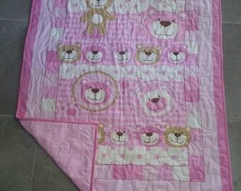 Bear quilt/blanket, Pink quilt, Baby quilt, Girls quilt
