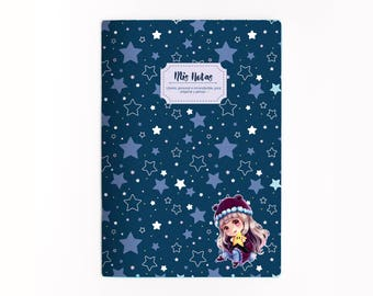 LUX & ESTELA A5 notebook, Diary, Notebook, Stationery, Small Gift, Illustrated Notebook, Pretty Stationery, Kawaii Notebook, Bullet Journal